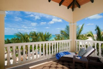 Covered veranda with ocean views off master suite